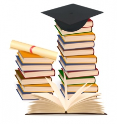 stack books and graduation cap vector image