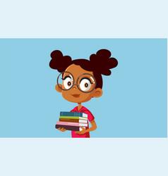 Student girl holding textbooks cartoon vector