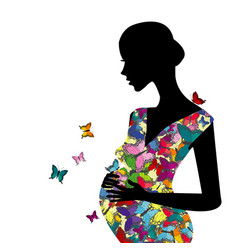 stylized pregnant woman with butterflies pattern vector image