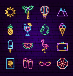 summer vacation neon icons vector image