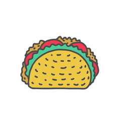 taco drawing isolated mexican fast food food from vector image