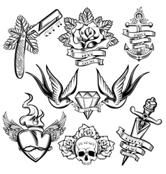 Tattoo Monochrome Elements Set vector