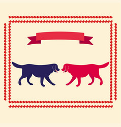 Template for greeting card with two dogs vector