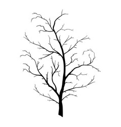 Tree branch wood plant silhouette trunk lineart vector
