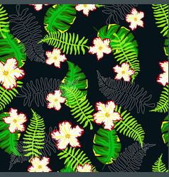 Tropical pattern with ferns vector