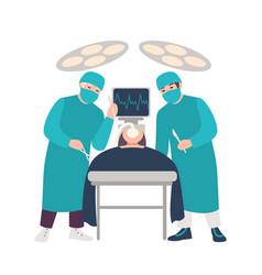 two surgeons or physicians holding scalpels vector image