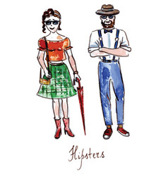 Watercolor hipsters girl and boy vector