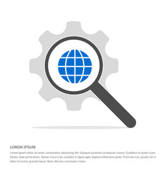 world globe icon search glass with gear symbol vector image