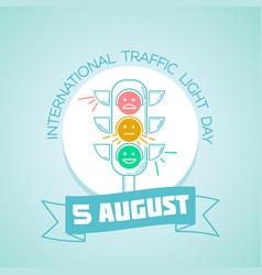 5 august international traffic light day vector