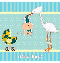 baby boy with stork vector image vector image