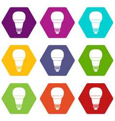 glowing led bulb icon set color hexahedron vector image