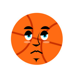 basketball sad emoji ball sorrowful emotion vector image