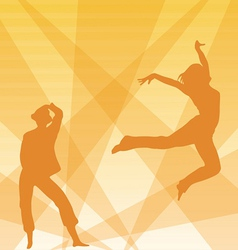 Contour of dancing girls on an orange background vector