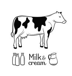 Milk and cream emblems set vector image