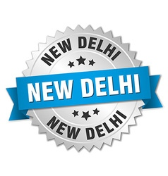 New Delhi round silver badge with blue ribbon vector image vector image