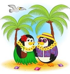 penguins on beach Hawaii vector image vector image