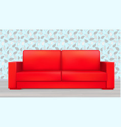 red modern luxury sofa for living room reception vector image vector image