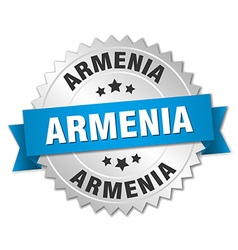 Armenia round silver badge with blue ribbon vector image vector image