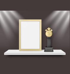 blank light frame and metal award trophy vector image vector image