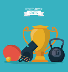 blue background of healthy lifestyle sports with vector image vector image