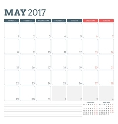 Calendar Planner Template for May 2017 Week vector image vector image
