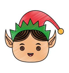 color pencil cartoon front view face christmas elf vector image vector image