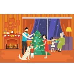 Family with children celebrating christmas holiday vector image vector image