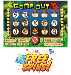 Game template with kids camping out vector image vector image