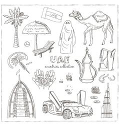 Hand drawn doodle UAE travel set vector image vector image