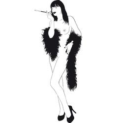 Nude Girl In Boa vector image vector image