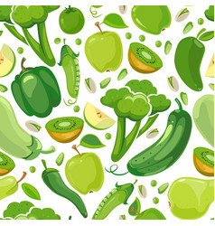 seamless texture with green vegetabels and fruits vector image