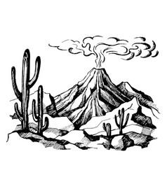 sketch landscape volcanic eruption vector image vector image