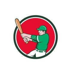 Baseball Player Batter Swinging Bat Circle Cartoon vector image vector image