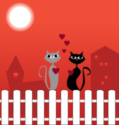 Cats on fence in love vector