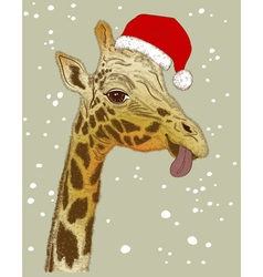 Christmas face of giraffe vector