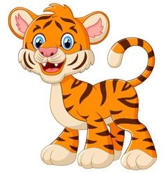 Cute baby tiger cartoon vector image vector image