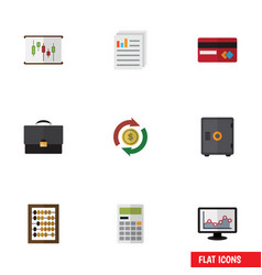 Flat icon finance set of document diagram vector