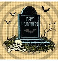 Happy Halloween grave tombstone cemetery skull and vector image vector image