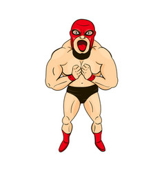 mexican wrestler in cartoon style character vector image vector image