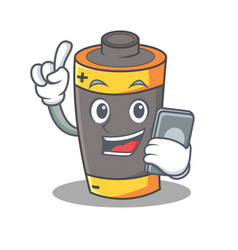 With phone battery character cartoon style vector