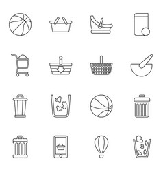 16 basket icons vector image