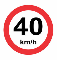 40 kmh speed limit vector