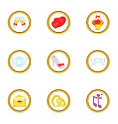 Anniversary icons set cartoon style vector