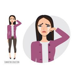 Asian woman crying vector