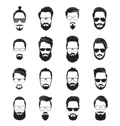 bearded face black men beards handsome model vector image