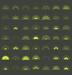big set of retro sun burst shapes 49 half vintage vector image