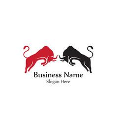 bull head horn red logo animal vector image
