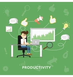 Businessman working at his laptop vector