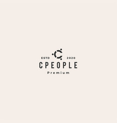 C letter people person logo icon hipster vintage vector