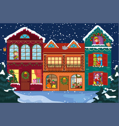 Cartoon children decorate house for christmas vector